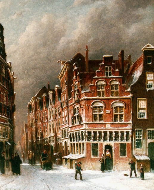 Petrus Gerardus Vertin | Figures in a street in winter, oil on canvas, 45.0 x 36.7 cm, signed l.l. and dated '83