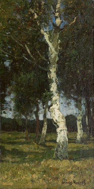 Cornelis Kuijpers | Birch trees, oil on canvas, 45.4 x 23.8 cm, signed l.r.