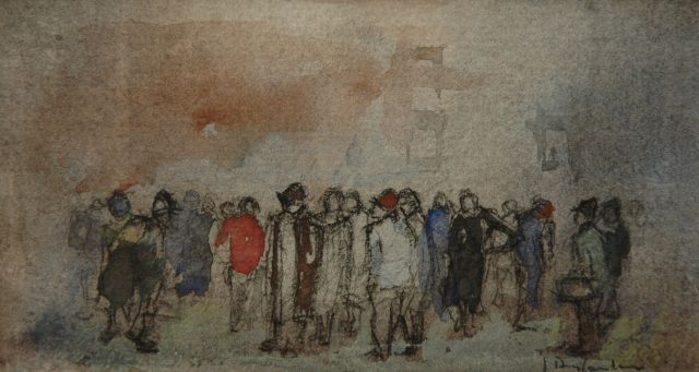 Jan Rijlaarsdam | Figures in a street, watercolour on paper, 7.9 x 13.5 cm, signed l.r. and painted ca. 1978