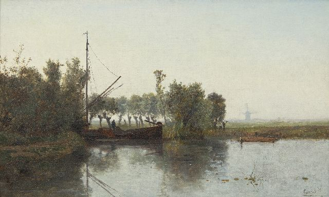 Paul Joseph Constantin Gabriel | A peat cutter with his barge in a polder landschape, oil on canvas, 28.6 x 46.5 cm, signed l.r.