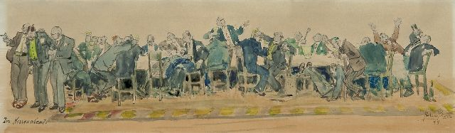 Richard Bloos | The gentlemen's evening, watercolour on paper, 14.1 x 48.9 cm, signed l.r. and dated '44
