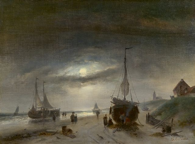 Leickert C.H.J.  | Barges on the beach of Scheveningen, by moonlight, oil on canvas 48.6 x 65.6 cm, signed l.r.