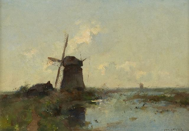 Aris Knikker | Mills in the polder, oil on canvas, 30.0 x 43.0 cm, signed l.r.