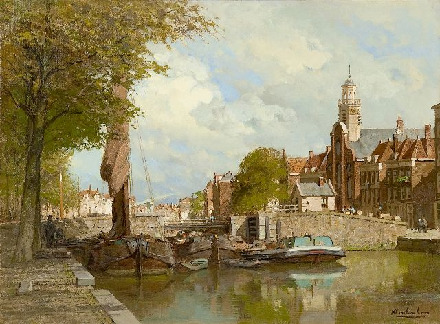 Klinkenberg J.C.K.  | A view of Voorhaven in Delfshaven in summer, Rotterdam, oil on canvas 39.8 x 53.4 cm, signed l.r.