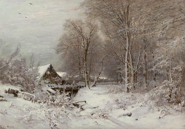 Louis Apol | Cottage in snowy landscape, oil on canvas, 80.0 x 112.2 cm, signed l.l.