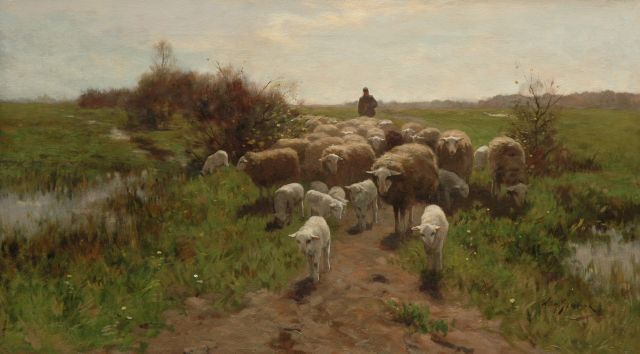 Willem Steelink jr. | Shepherd with his flock, oil on canvas, 56.7 x 100.4 cm, signed l.r.