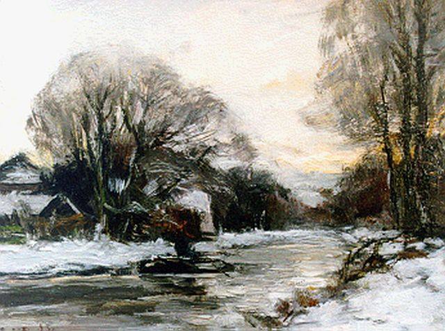 Louis Apol | Houses along a canal in winter, oil on panel, 21.0 x 27.1 cm, signed l.l.