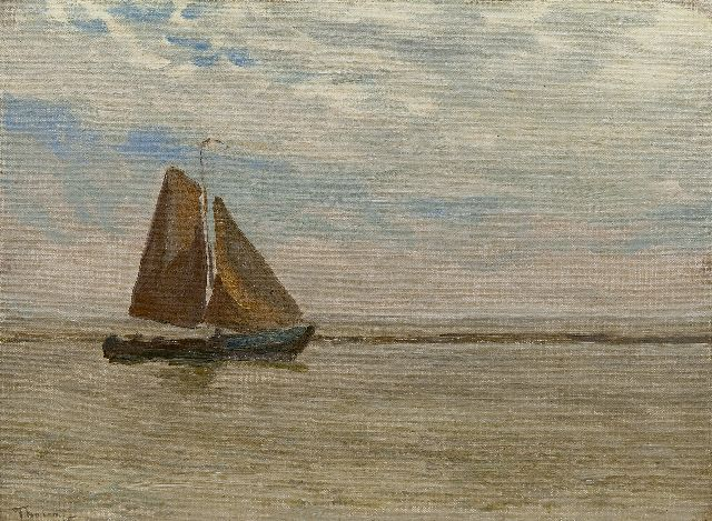 Willem Bastiaan Tholen | Fishing boat at sea,probably 'Krabbersgat', near Enkhuizen, oil on canvas laid down on panel, 25.4 x 34.6 cm, signed l.l.