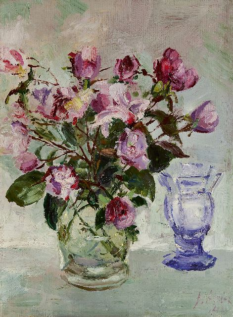 Jan Altink | Roses in a glass vase, oil on canvas, 40.0 x 30.0 cm, signed l.r. and dated '42