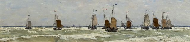 Willem Wenckebach | Fishingboats setting sail, oil on panel, 22.7 x 76.8 cm, signed l.r. with initials