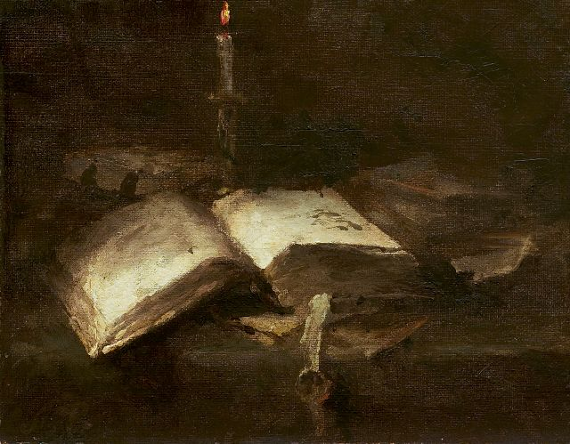 Margaretha Roosenboom | Still life with a bible, oil on canvas, 18.8 x 24.0 cm, signed l.l. with initials and executed in 1891