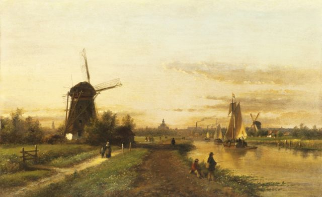 Lodewijk Johannes Kleijn | A view of the river De Vliet with The Hague in the distance, oil on panel, 32.3 x 51.1 cm, signed l.l.