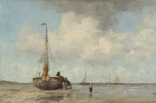 Jacob Maris | A summer's day at the beach of Scheveningen, oil on canvas, 82.5 x 125.0 cm, signed l.l. and painted ca. 1890-1895
