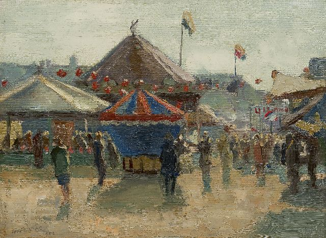 Gerrit de Polder | Fair at the Malieveld, The Hague, oil on canvas, 30.0 x 40.3 cm, signed l.l. and dated 1953