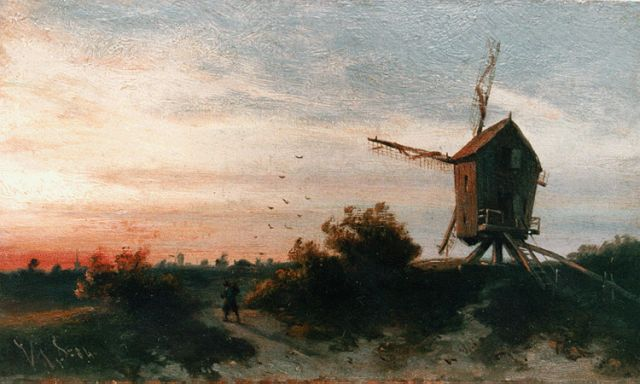 Jan Gerard Smits | Sunset glow, oil on panel, 13.0 x 21.6 cm, signed l.l. with initials and dated '84