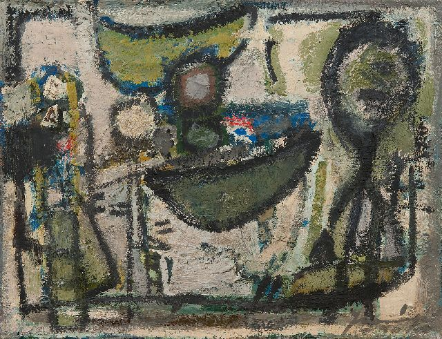 Nanninga J.  | Composition, oil on canvas 35.2 x 45.3 cm, signed l.r. and dated '50