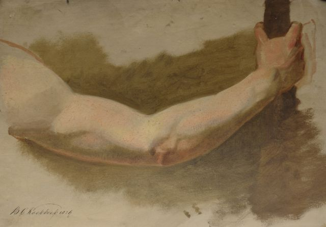 Barend Cornelis Koekkoek | An academy study of a man's arm, oil on paper, 30.8 x 43.8 cm, signed l.l. and dated 1824