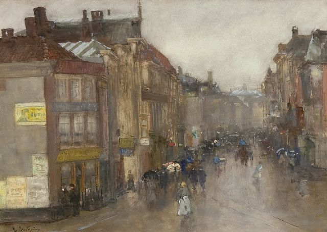 Floris Arntzenius | A view of the Wagenstraat, The Hague, watercolour on paper, 36.3 x 49.7 cm, signed l.l.
