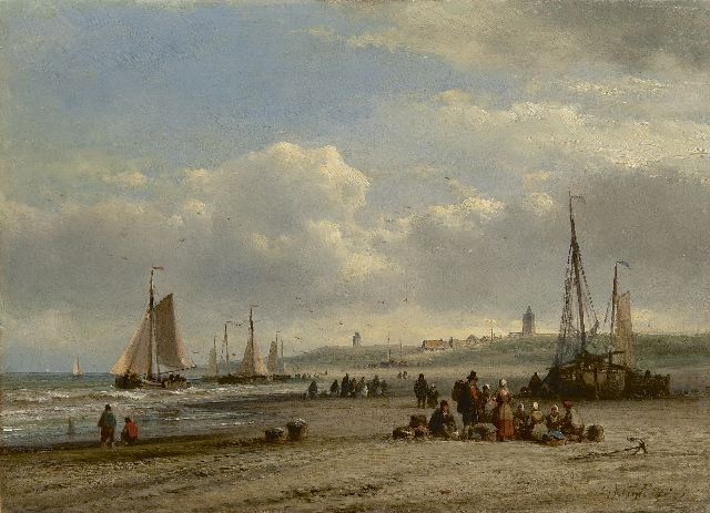 Lodewijk Johannes Kleijn | The catch on the beach, oil on panel, 23.1 x 31.8 cm, signed l.r.