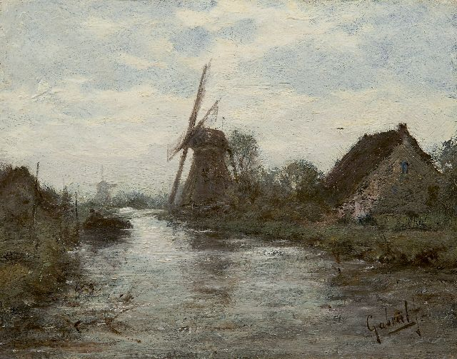 Paul Joseph Constantin Gabriel | A polder landscape with windmills, oil on panel, 18.6 x 23.9 cm, signed l.r.