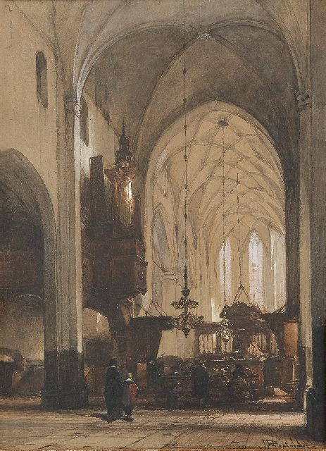 Johannes Bosboom | Worshipping in the Grote Kerk, Hattem, watercolour on paper, 49.5 x 36.0 cm, signed l.r.
