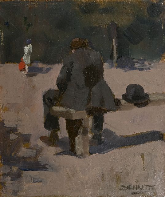 Schutte L.H.H.  | In the park, oil on painter's board 27.0 x 22.7 cm, signed l.r.