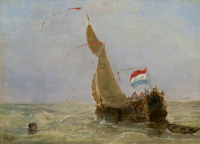 Albertus van Beest | A Dutch 'boeier' on a choppy sea, oil on panel, 14.8 x 20.7 cm, signed l.l.