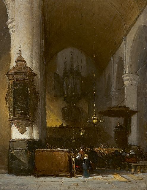 Johannes Bosboom | A church interior, oil on panel, 18.5 x 14.5 cm, signed l.c.