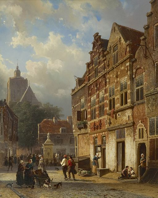 Springer C.  | The 'Koopmanstraat' and the Wellerondom, Brielle, oil on panel 50.1 x 40.0 cm, signed l.l. in full and l.r. with mon. and dated l.r. '54