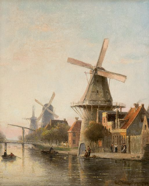 Cornelis Christiaan Dommelshuizen | Windmill 'De Rosenboom' near the Overtoom, Amsterdam, oil on panel, 28.4 x 23.0 cm, signed l.r. and indistinctly dated 189[?]8