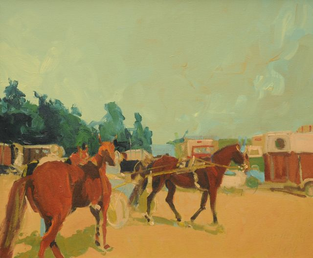 Geert Meyer | At the racetrack, oil on canvas, 50.4 x 60.4 cm, signed l.r. and dated 1979