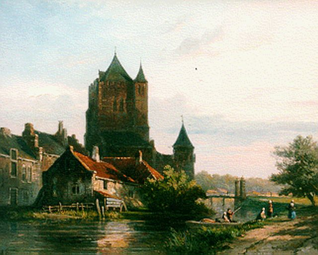 Adrianus Eversen | The 'Amsterdamse Poort', Haarlem, oil on panel, 23.2 x 28.6 cm, signed l.l. with monogram