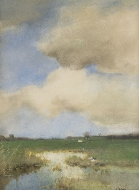 Cornelis Kuijpers | Polder landscape, watercolour on paper, 52.4 x 38.6 cm, signed l.r.