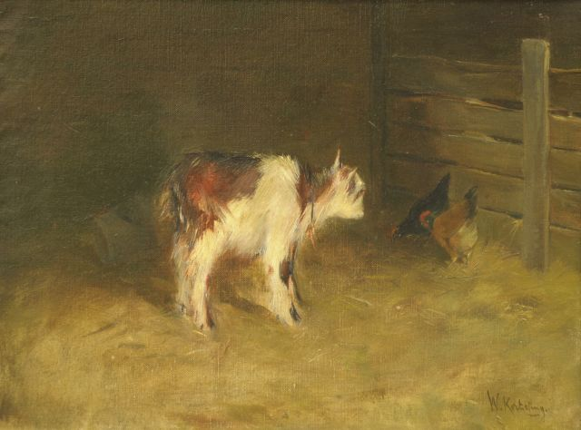 Korteling W.  | A goat and chicken, oil on canvas 31.0 x 40.1 cm, signed l.r.