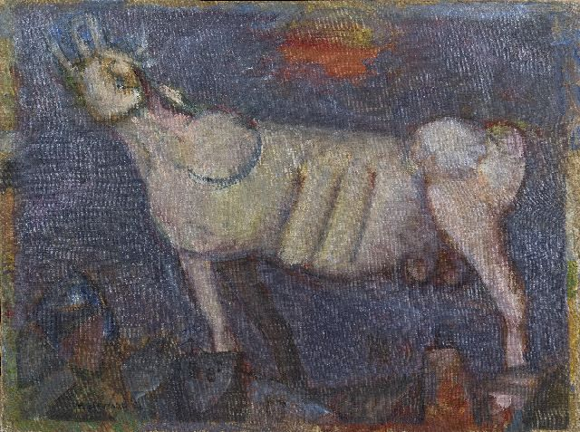 Bierman R.  | Roaring bull, oil on canvas 60.5 x 80.5 cm, signed l.l. and on the reverse and dated '52