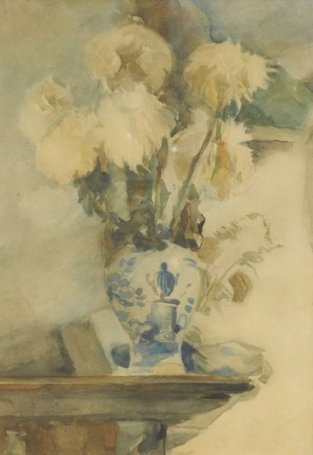 Herman Kruyder | Chrysantemum in a Delft blue vase, mixed media on paper, 60.5 x 42.5 cm, signed l.c.
