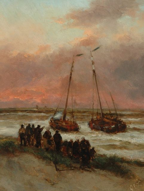 George Lourens Kiers | The fishing fleet setting out for sea, oil on painter's board, 22.7 x 17.5 cm, signed l.r. with initials and reverse