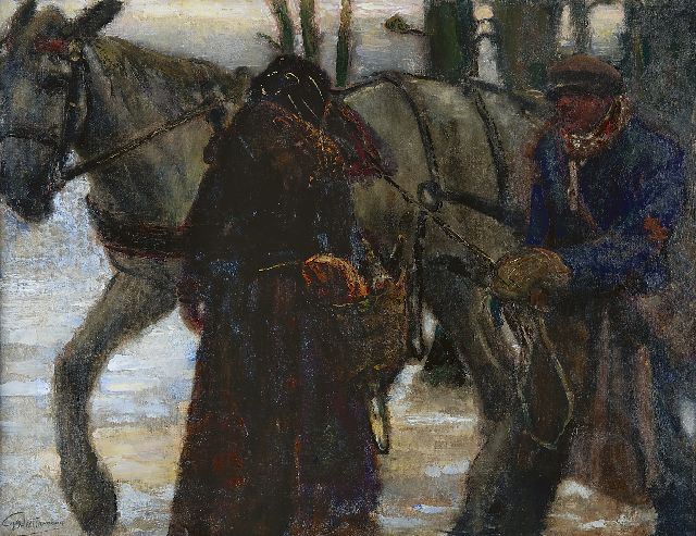 Gerard Westermann | Figures standing beside a draught horse, oil on canvas, 77.0 x 100.0 cm, signed l.l.