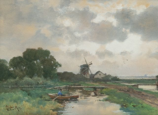 Willem Rip | Polder landscape, watercolour on paper, 35.5 x 48.5 cm, signed l.l.