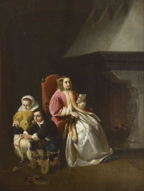 Vaarberg J.C.  | A mother with her children by a fire place, oil on panel 29.5 x 22.6 cm, signed l.l. and dated '60