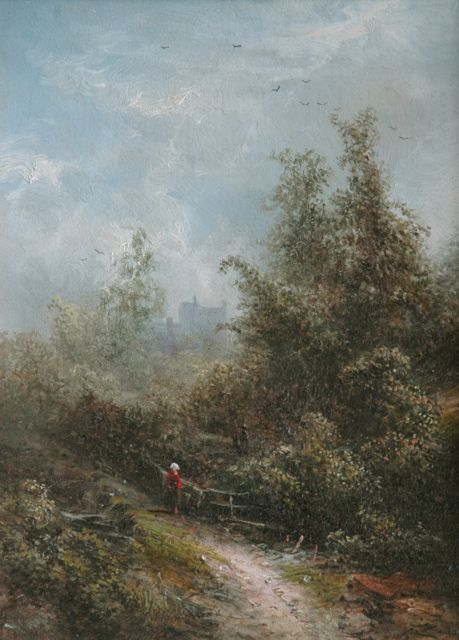 Pieter Kluyver | Forest path, oil on panel, 22.1 x 16.5 cm, signed l.l.