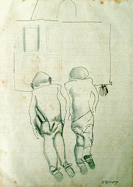 Herman Kruyder | Two figures, mixed media on paper, 24.4 x 18.0 cm, signed l.r.