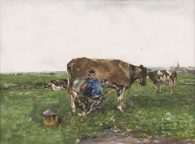 Willem de Zwart | Milking time, watercolour and gouache on paper, 52.5 x 71.2 cm, signed l.r.