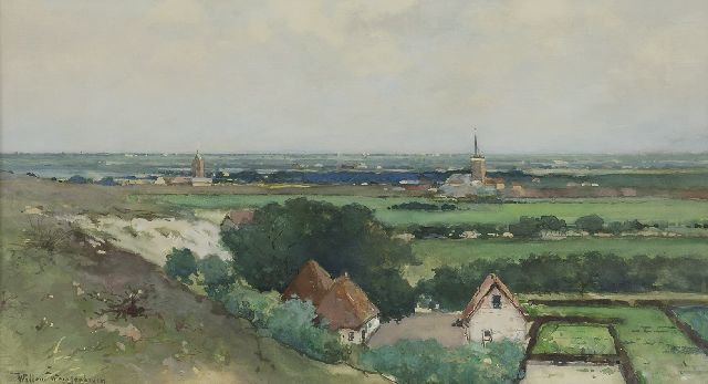 Weissenbruch W.J.  | Overlooking a village from the dune, watercolour on paper 29.7 x 53.7 cm, signed l.l.