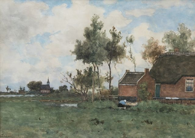 Victor Bauffe | A farmstead near Noorden, watercolour on paper, 46.9 x 65.2 cm, signed l.l.