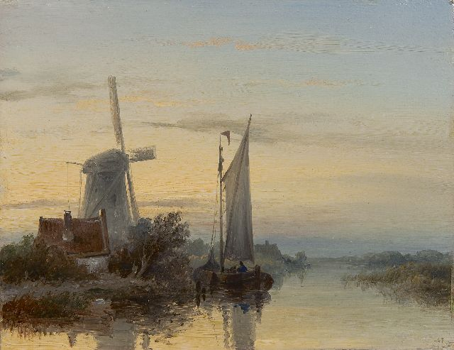 Johannes Hilverdink | Moored boats near a mill, oil on panel, 17.3 x 22.2 cm, signed l.r. remains of signature