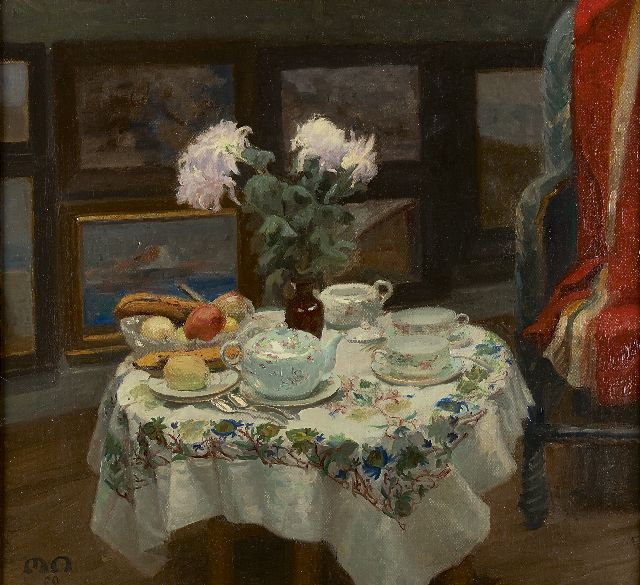 Nathan M.L.M.  | The tea table, oil on canvas 69.2 x 75.1 cm, signed l.l. with initials and dated '09