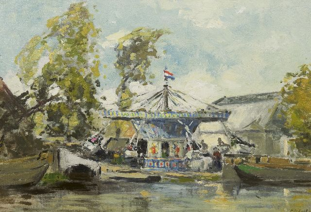 Regt P. de | Merry-go-round near the water's edge, oil on canvas laid down on panel 39.8 x 56.7 cm, signed l.r. and reverse