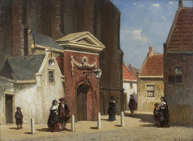 Petrus Gerardus Vertin | View of the 'Waalse Kerk' Haarlem, oil on panel, 19.0 x 25.0 cm, signed l.r.