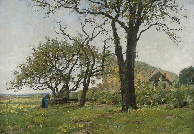 Paul Bodifée | Landscape with blossom trees near Deventer, oil on canvas, 70.4 x 100.2 cm, signed l.r.
